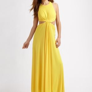 BCBG- Yellow Olesha Draped Dress